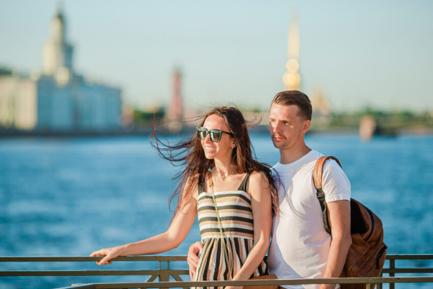 Coulpe at the summer waterfront in Saint Petersburg